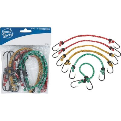 Smart Savers 6mm x 12 In. Coated Bungee Cord (6-Pack)