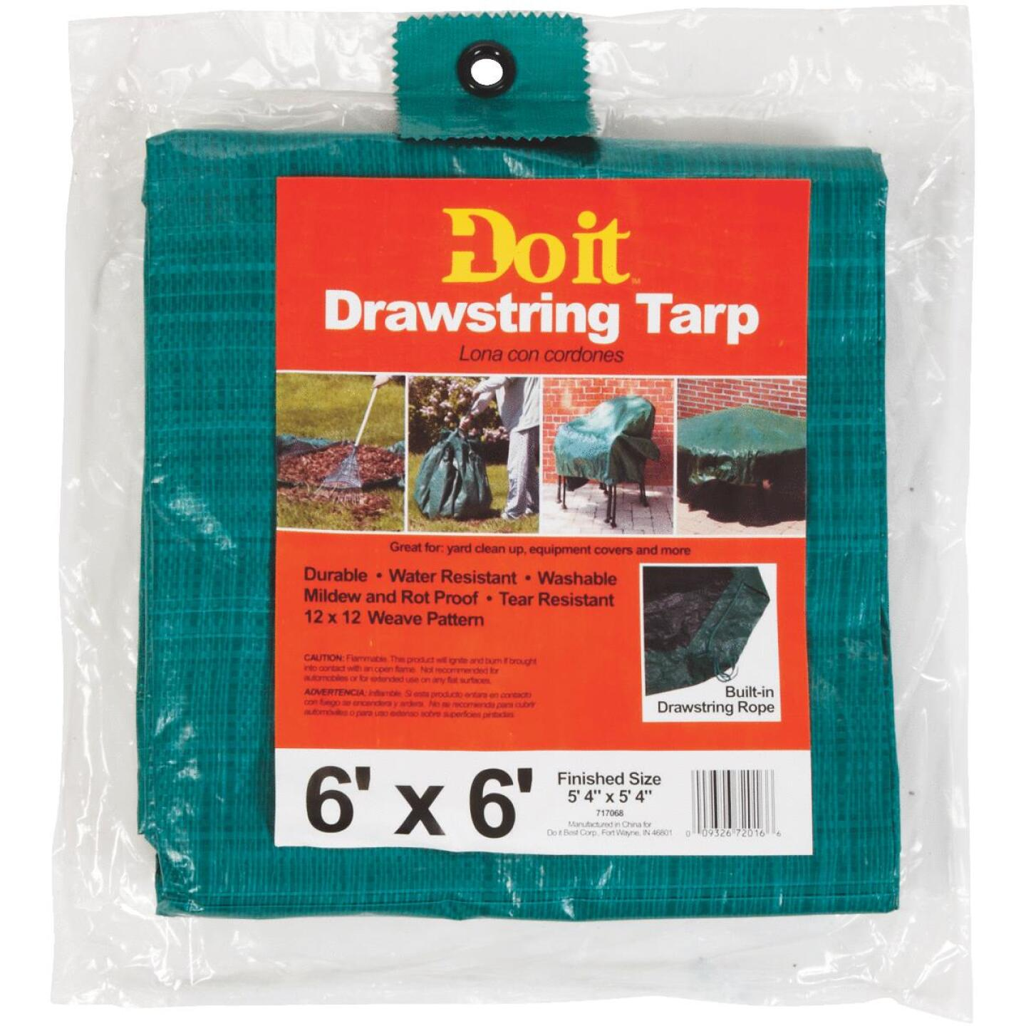 Do it 6 Ft. x 6 Ft. Poly Fabric Green Lawn Cleanup Tarp Image 4
